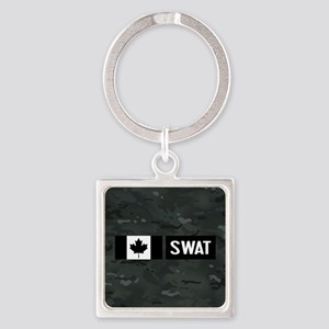 Canadian SWAT: Black Camouflage Square Keychain