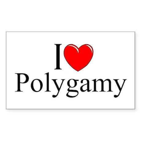 """""""I Love (Heart) Polygamy"""" Rectangle Sticker"""