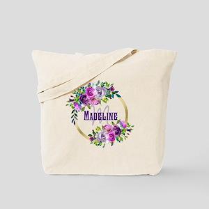Purple and Gold Monogram Tote Bag