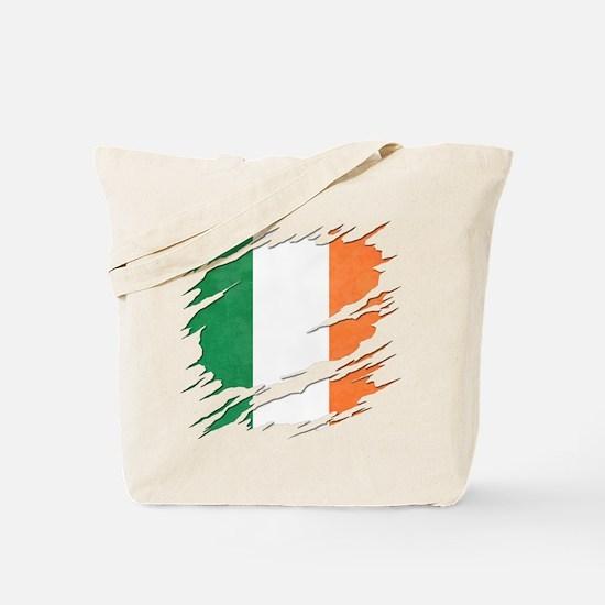 Ripped Reveal of Irish Flag Tote Bag
