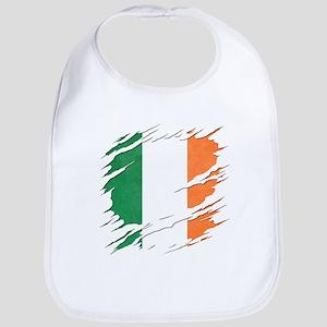 Ripped Reveal of Irish Flag Cotton Baby Bib