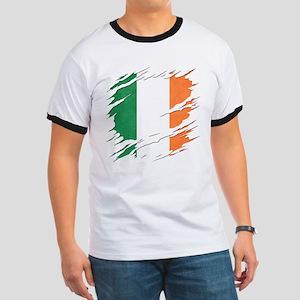 Ripped Reveal of Irish Flag Ringer T