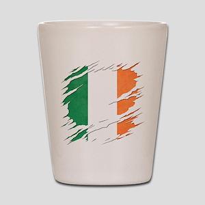 Ripped Reveal of Irish Flag Shot Glass
