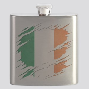 Ripped Reveal of Irish Flag Flask