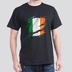 Ripped Reveal of Irish Flag Dark T-Shirt