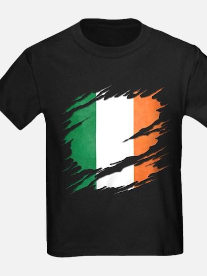 Ripped Reveal of Irish Flag T