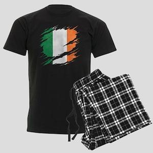 Ripped Reveal of Irish Flag Men's Dark Pajamas