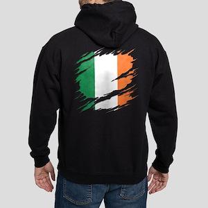 Ripped Reveal of Irish Flag Hoodie (dark)