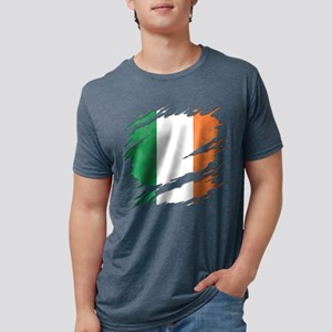 Ripped Reveal of Irish Flag Mens Tri-blend T-Shirt