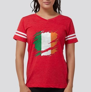 Ripped Reveal of Irish Flag Womens Football Shirt