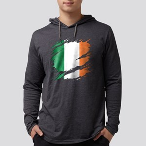 Ripped Reveal of Irish Flag Mens Hooded Shirt