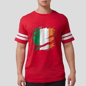 Ripped Reveal of Irish Flag Mens Football Shirt
