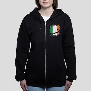 Ripped Reveal of Irish Flag Women's Zip Hoodie