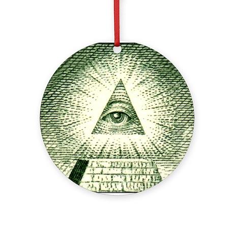 Pyramid Eye U.S. dollar logo Keepsake (Round)