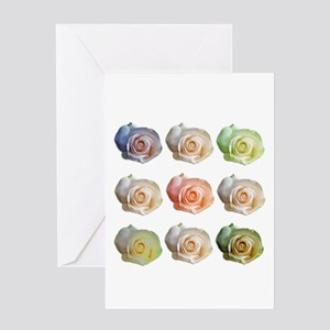 Nine Colored Roses Greeting Card