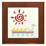Duck Family Walk Framed Tile