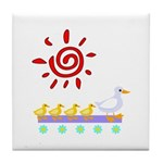 Duck Family Walk Tile Coaster