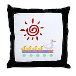 Duck Family Walk Throw Pillow