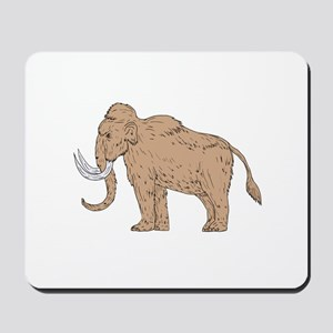 Woolly Mammoth Side Drawing Mousepad