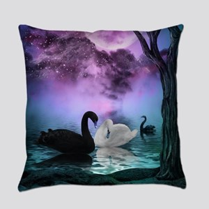 Wonderful black and white swan in the night Everyd