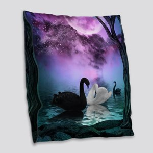 Wonderful black and white swan in the night Burlap
