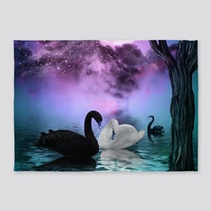 Wonderful black and white swan in the night 5'x7'A