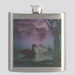 Wonderful black and white swan in the night Flask
