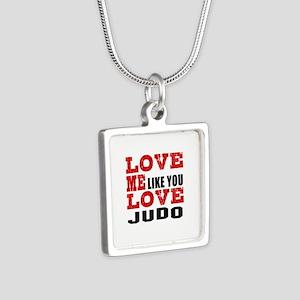 Love Me Like You Love Judo Silver Square Necklace