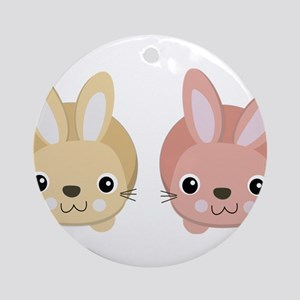 Adorable Bunny Twins Round Ornament