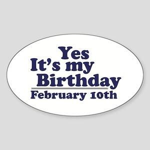 February 10th Birthday Oval Sticker