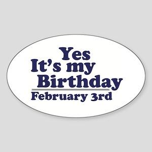 February 3rd Birthday Oval Sticker