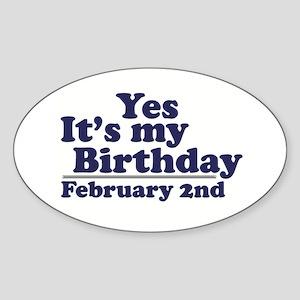 February 2nd Birthday Oval Sticker