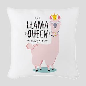 Llama Queen Woven Throw Pillow