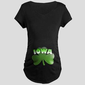 Iowa Shamrock Maternity Dark T-Shirt