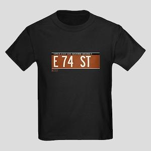 74th Street in NY Kids Dark T-Shirt