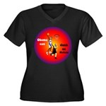 Obama Can Dunk Women's Plus Size V-Neck Dark T-Shi