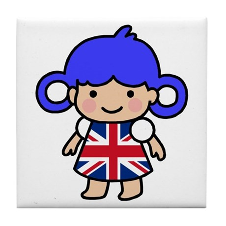 Girl in Union Jack Dress Tile Coaster