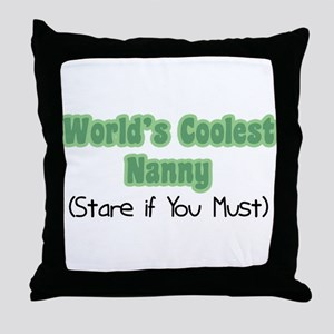 World's Coolest Nanny Throw Pillow