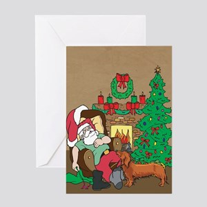 Santa Has A Dachshund Christmas Greeting Card