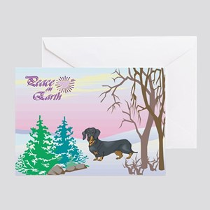 Peace On Earth Dachshund Holiday Greeting Card