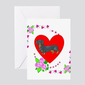 Dachshund Love Valentines Greeting Card