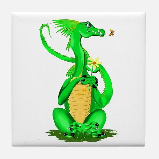 Cute Green Dragon Tile Coaster