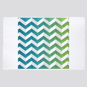 Cool Green And Blue Chevron 4' x 6' Rug