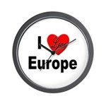 I Love Europe Wall Clock