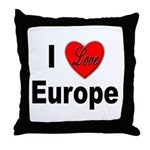I Love Europe Throw Pillow