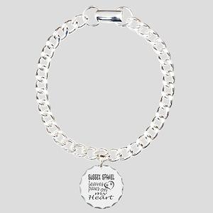 Sussex Spaniel Dog Leave Charm Bracelet, One Charm