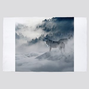 Beautiful Wolves In The Winter 4' x 6' Rug