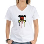 German Punk Skull Women's V-Neck T-Shirt