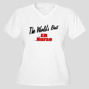 """""""The World's Best ER Nurse"""" Women's Plus Size V-Ne"""