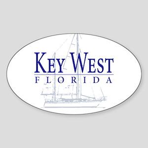 Key West Sailboat - Oval Sticker